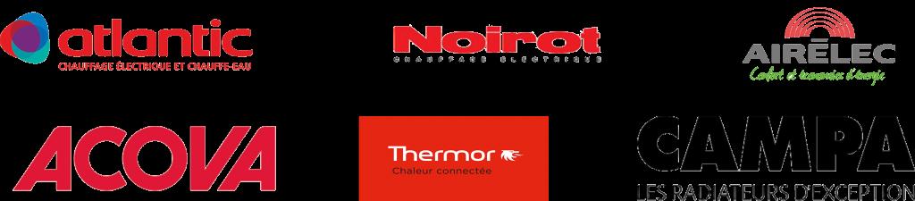 Mes fournisseurs principales (Atlantic, Noirot, Airelec, Acova, Thermor, Campa) pour les radiateurs électriques